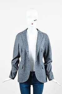 Harris Wharf London Black Gray Knit Houndstooth Print Long Sleeve Blazer Jacket