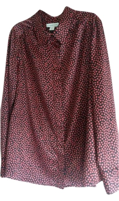 Coldwater Creek Dressy Comfortable Date Night Top Red & Black Print