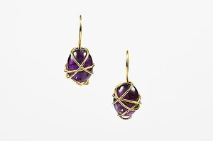 Vintage Tina Chow 18k Yellow Gold Amethyst Wrapped Drop Hook Earrings