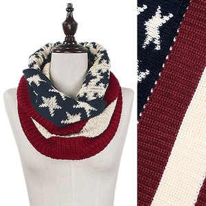 other Beautiful female American Flag Pattern Knit Mini Tube Scarf