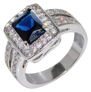 New Blue Sapphire & White Gold Filled Cocktail Wedding Ring Sz 9
