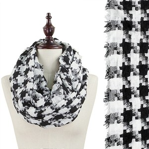 Other Chic Style Frayed Edge Hound Tooth Woven Infinity Scarf