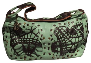 Betsey Johnson Leather Studded Detail Embellished Satchel in Green