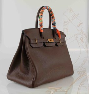 cf84efc0386 Added to Shopping Bag. Hermès Chocolate Brown Togo Leather Leather Large  Birkin Gold Hardware Scarf 35cm ...
