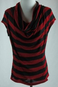 INC International Concepts Cowl Neck Striped Red Black Sweater