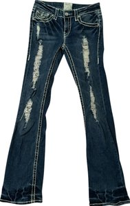 LA Idol Distressed Back Pockets Boot Cut Jeans-Distressed