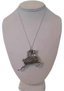 ARTISAN SILVER PLATED DEER CHRISTMAS PENDANT NECKLACE