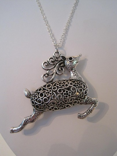 Other ARTISAN SILVER PLATED DEER CHRISTMAS PENDANT NECKLACE