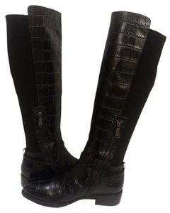 Donald J. Pliner Croc Leather Black Boots