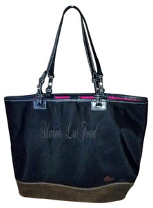 Dooney & Bourke Nylon Suede Shopper Travel Tote in black/brown