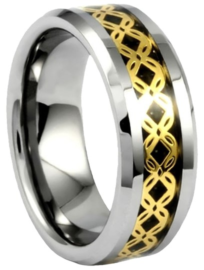 Portofino Tungsten Ring IP Gold Crisscross Pattern Over Black Carbon Fiber Sizes 8-13 Made To Order