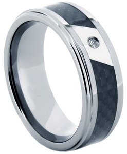 Portofino Tungsten Ring CZ Centerpiece Carbon Fiber Inlay 8mm Sizes 8-10 Made To Order Free Ship