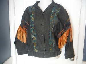 Fringe Western Leather Trim Multi Color Womens Jean Jacket