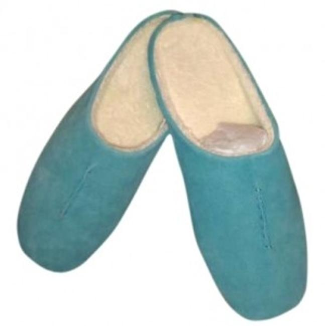 Item - Turquoise (Light Blue) Suede Slippers Mules/Slides Size US 9