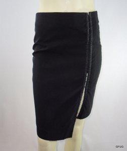 bebe Viscose Knit Hook Eye Front Fitted Bodycon Asymmetrical Skirt Black
