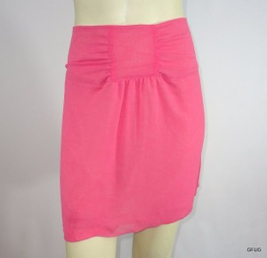 Lux Urban Outfitters Crepe Mini Gathered Waist Mini Skirt Pink