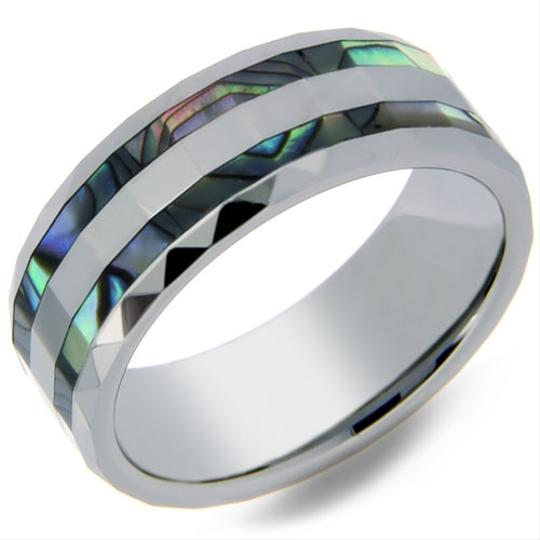 Portofino Tungsten Ring Double Row Abalone Shell Inlay Prism Edges 8mm Sizes 8-10 Made To Order Free Ship