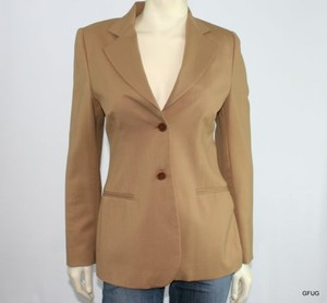 Barneys New York Barneys York Tan Wool Blend Career Blazer Jacket Two-button