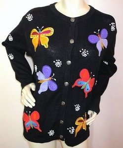 Quacker Factory Colorful Butterfly Cardigan Knit Sweater