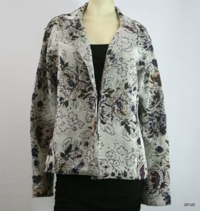 Color Me Cotton Multi-colored Floral Tapestry Open Blazer Jacket