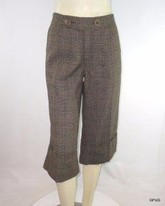 Catherine Malandrino Wool Blend Plaid Cropped 32x18 315 Capri/Cropped Pants Brown