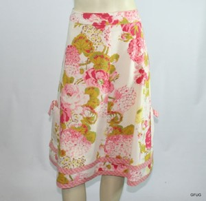 CAbi Ivory Floral Retro Pockets Bows Style 951 Skirt Pink