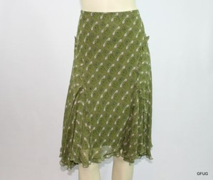 Max Studio Silk Floral Bird Print Gored Flared Ruffled Trim Skirt Green