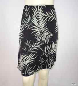 Tommy Bahama Gray Silk Stretch Palm Leaf Tropical Print Skirt Black