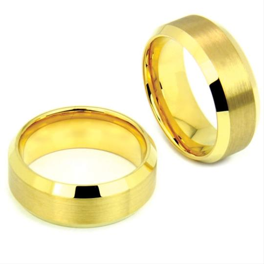 Gold Ip Tungsten Ring Satin Finished Center Mmirror Edge Sizes 7-13 Made To Order Free Ship