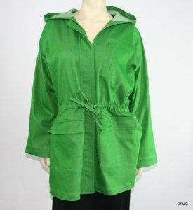 Ellen Tracy Company Cotton Canvas Hidden Zip Hooded Coat Green Jacket