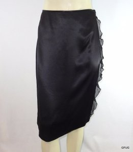A|X Armani Exchange Ax Silk Ruffled Side Straight Evening Slinky Slip Skirt Black