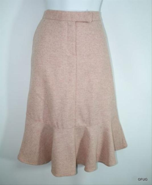 French Connection Pink Wool Blend Chevron Print Pencil Skirt Flutter Hem free shipping