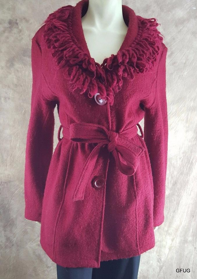 Cynthia Rowley Red Boiled Wool Belted Sweater Coat Fringed Yarn
