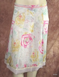 Odille Pink Green Beige Skirt Multi-Color