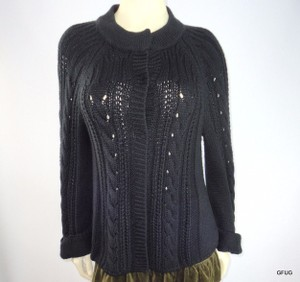 Tahari Hidden Snap Cableknit Cardigan Cuffed Bell Sleeves Sweater