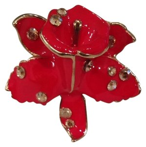 Versace for H&M Red Enamel Flower Cocktail Ring