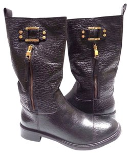 Tory Burch Leather Pebbled Black Boots