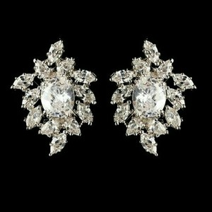New Jewelry Earring Crystal Wedding Bridal Cluster Cz Diamond Leaf Stud Bridesmaid Clear Stones