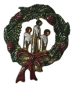 Vintage Fashion Gold Tone Enamel Christmas Wrath Brooch