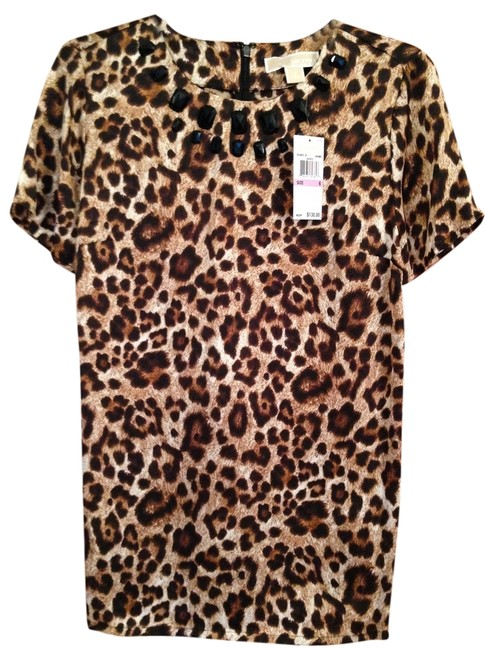 "Item - Black/Tan/Brown ""Jewel"" Accented Animal Print Msrp Tunic Size 6 (S)"