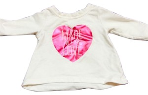Old Navy T Shirt White with pink shiny heart