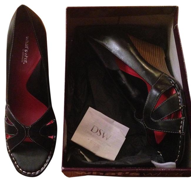 Item - Black What's What Wedges Size US 9.5 Regular (M, B)