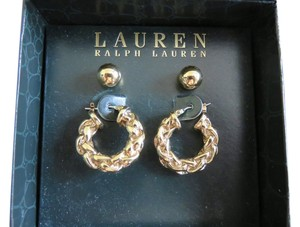 Ralph Lauren Gold-tone Small Thick Braided Hoop Earrings & Round Set