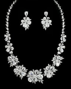 Stunning Cz Bridal Jewelry Set