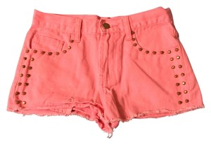 Forever 21 Studded Neon Trendy Edgy Cool Mini/Short Shorts Neon Pink