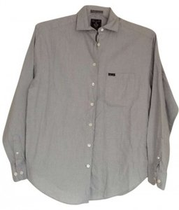 Façonnable Button Down Shirt light blue with blue and brown stripes