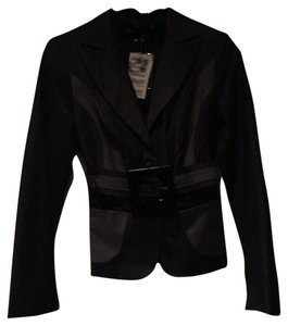 bebe Paneled Belted Jacket Charcoal Blazer