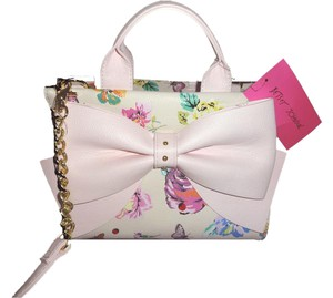 Betsey Johnson Cross Body Mini Satchel in floral/pink