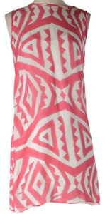 MILLY short dress Pink & White Mini Silk Tribal on Tradesy