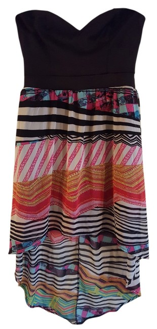 Item - Black with Wild Colors High-low Night Out Dress Size 8 (M)